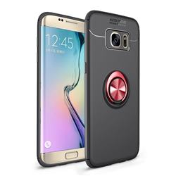 Auto Focus Invisible Ring Holder Soft Phone Case for Samsung Galaxy S7 Edge s7edge - Black Red
