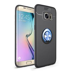 Auto Focus Invisible Ring Holder Soft Phone Case for Samsung Galaxy S7 Edge s7edge - Black Blue