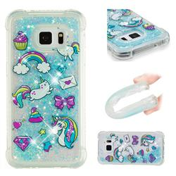 Fashion Unicorn Dynamic Liquid Glitter Sand Quicksand Star TPU Case for Samsung Galaxy S7 Edge s7edge