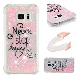 Never Stop Dreaming Dynamic Liquid Glitter Sand Quicksand Star TPU Case for Samsung Galaxy S7 Edge s7edge