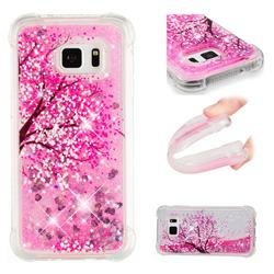 Pink Cherry Blossom Dynamic Liquid Glitter Sand Quicksand Star TPU Case for Samsung Galaxy S7 Edge s7edge