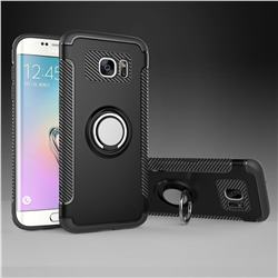 Armor Anti Drop Carbon PC + Silicon Invisible Ring Holder Phone Case for Samsung Galaxy S7 Edge s7edge - Black