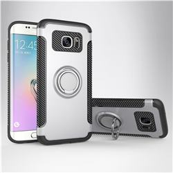 Armor Anti Drop Carbon PC + Silicon Invisible Ring Holder Phone Case for Samsung Galaxy S7 Edge s7edge - Silver