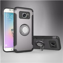 Armor Anti Drop Carbon PC + Silicon Invisible Ring Holder Phone Case for Samsung Galaxy S7 Edge s7edge - Grey
