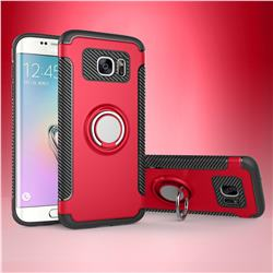 Armor Anti Drop Carbon PC + Silicon Invisible Ring Holder Phone Case for Samsung Galaxy S7 Edge s7edge - Red