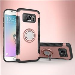 Armor Anti Drop Carbon PC + Silicon Invisible Ring Holder Phone Case for Samsung Galaxy S7 Edge s7edge - Rose Gold