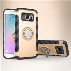 Armor Anti Drop Carbon PC + Silicon Invisible Ring Holder Phone Case for Samsung Galaxy S7 Edge s7edge - Champagne