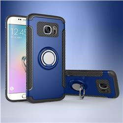 Armor Anti Drop Carbon PC + Silicon Invisible Ring Holder Phone Case for Samsung Galaxy S7 Edge s7edge - Sapphire