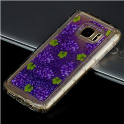 Purple Grape Glassy Glitter Quicksand Dynamic Liquid Soft Phone Case for Samsung Galaxy S7 Edge s7edge