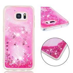 Dynamic Liquid Glitter Quicksand Sequins TPU Phone Case for Samsung Galaxy S7 Edge s7edge - Rose