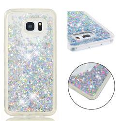 Dynamic Liquid Glitter Quicksand Sequins TPU Phone Case for Samsung Galaxy S7 Edge s7edge - Silver
