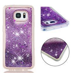 Dynamic Liquid Glitter Quicksand Sequins TPU Phone Case for Samsung Galaxy S7 Edge s7edge - Purple