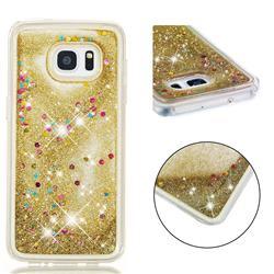 Dynamic Liquid Glitter Quicksand Sequins TPU Phone Case for Samsung Galaxy S7 Edge s7edge - Golden