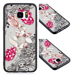 Tulip Lace Diamond Flower Soft TPU Back Cover for Samsung Galaxy S7 Edge s7edge