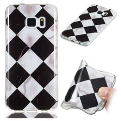 Black and White Matching Soft TPU Marble Pattern Phone Case for Samsung Galaxy S7 Edge s7edge