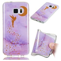 Elf Purple Soft TPU Marble Pattern Phone Case for Samsung Galaxy S7 Edge s7edge