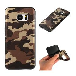 Camouflage Soft TPU Back Cover for Samsung Galaxy S7 Edge s7edge - Gold Coffee