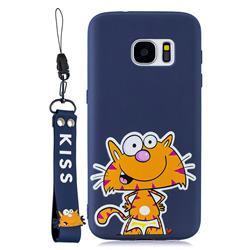 Blue Cute Cat Soft Kiss Candy Hand Strap Silicone Case for Samsung Galaxy S7 Edge s7edge