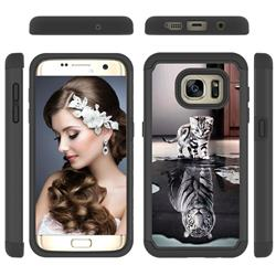 Cat and Tiger Shock Absorbing Hybrid Defender Rugged Phone Case Cover for Samsung Galaxy S7 Edge s7edge