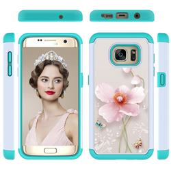 Pearl Flower Shock Absorbing Hybrid Defender Rugged Phone Case Cover for Samsung Galaxy S7 Edge s7edge