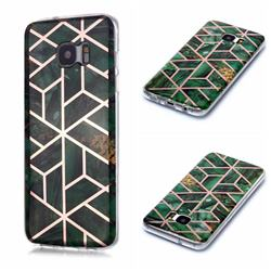 Green Rhombus Galvanized Rose Gold Marble Phone Back Cover for Samsung Galaxy S7 Edge s7edge