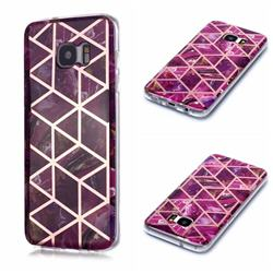 Purple Rhombus Galvanized Rose Gold Marble Phone Back Cover for Samsung Galaxy S7 Edge s7edge