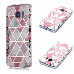 Pink Rhombus Galvanized Rose Gold Marble Phone Back Cover for Samsung Galaxy S7 Edge s7edge