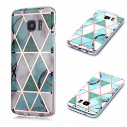 Green White Galvanized Rose Gold Marble Phone Back Cover for Samsung Galaxy S7 Edge s7edge