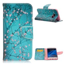 Blue Plum Leather Wallet Case for Samsung Galaxy S7 Edge G935