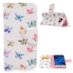 Colored Butterflies Leather Wallet Case for Samsung Galaxy S7 Edge G935