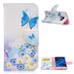 Butterflies Flowers Leather Wallet Case for Samsung Galaxy S7 Edge G935