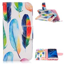 Colored Feather Leather Wallet Case for Samsung Galaxy S7 Edge G935