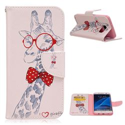 Glasses Giraffe Leather Wallet Case for Samsung Galaxy S7 Edge G935