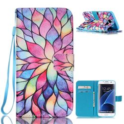 Colorful Lotus Leather Wallet Case for Samsung Galaxy S7 Edge G935