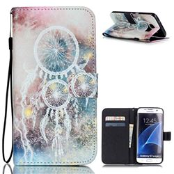 White Campanula Leather Wallet Case for Samsung Galaxy S7 Edge G935