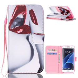 Sexy Lips Leather Wallet Case for Samsung Galaxy S7 Edge G935