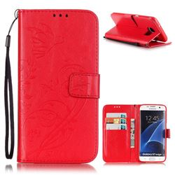 Embossing Butterfly Flower Leather Wallet Case for Samsung Galaxy S7 Edge - Red