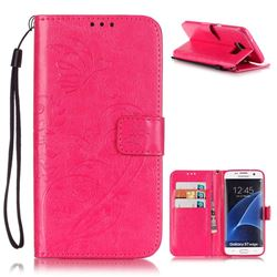 Embossing Butterfly Flower Leather Wallet Case for Samsung Galaxy S7 Edge - Rose