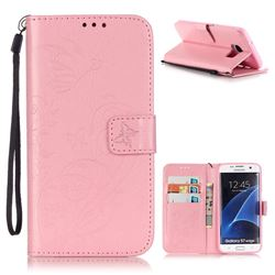 Embossing Butterfly Flower Leather Wallet Case for Samsung Galaxy S7 Edge - Pink