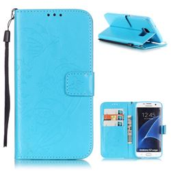 Embossing Butterfly Flower Leather Wallet Case for Samsung Galaxy S7 Edge - Blue