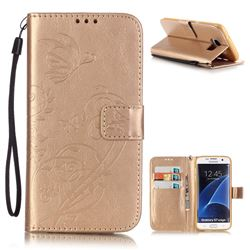 Embossing Butterfly Flower Leather Wallet Case for Samsung Galaxy S7 Edge - Champagne
