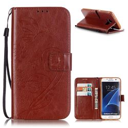 Embossing Butterfly Flower Leather Wallet Case for Samsung Galaxy S7 Edge - Brown