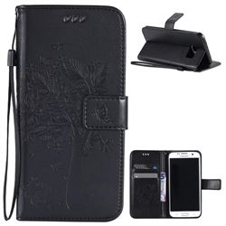Embossing Butterfly Tree Leather Wallet Case for Samsung Galaxy S7 Edge - Black