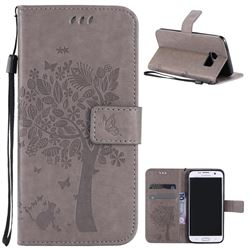 Embossing Butterfly Tree Leather Wallet Case for Samsung Galaxy S7 Edge - Grey
