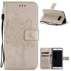 Embossing Butterfly Tree Leather Wallet Case for Samsung Galaxy S7 Edge - Champagne