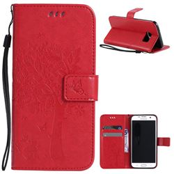 Embossing Butterfly Tree Leather Wallet Case for Samsung Galaxy S7 Edge - Red