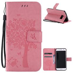 Embossing Butterfly Tree Leather Wallet Case for Samsung Galaxy S7 Edge - Pink