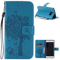 Embossing Butterfly Tree Leather Wallet Case for Samsung Galaxy S7 Edge - Blue