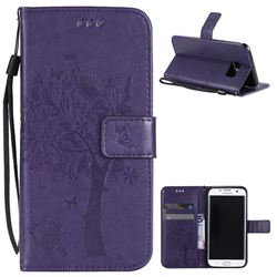 Embossing Butterfly Tree Leather Wallet Case for Samsung Galaxy S7 Edge - Purple