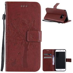 Embossing Butterfly Tree Leather Wallet Case for Samsung Galaxy S7 Edge - Brown
